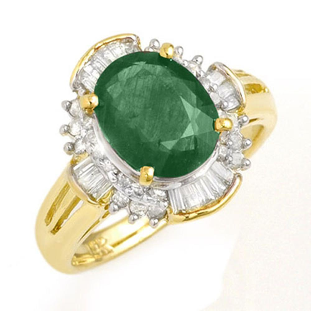 3.08 ctw Emerald & Diamond Ring 14K Yellow Gold - REF-78H9M - SKU:13254