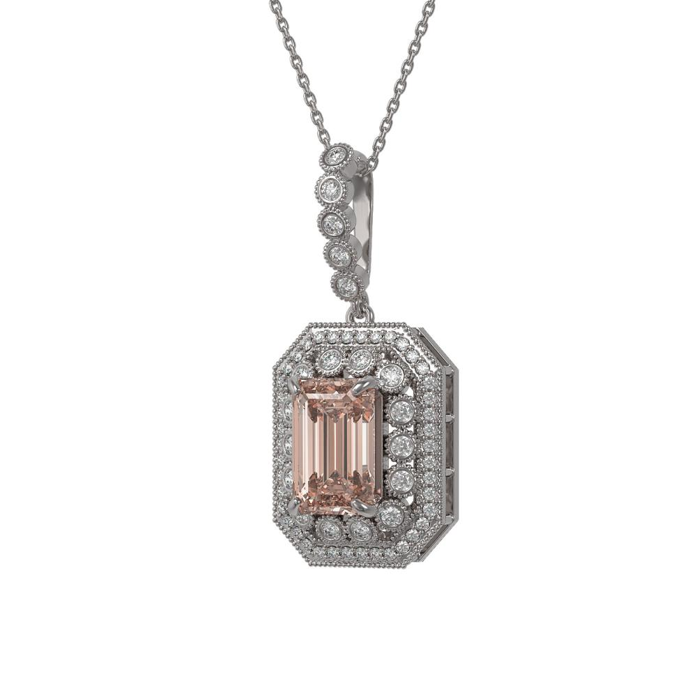 6.05 ctw Morganite & Diamond Necklace 14K White Gold - REF-252H2M - SKU:43457