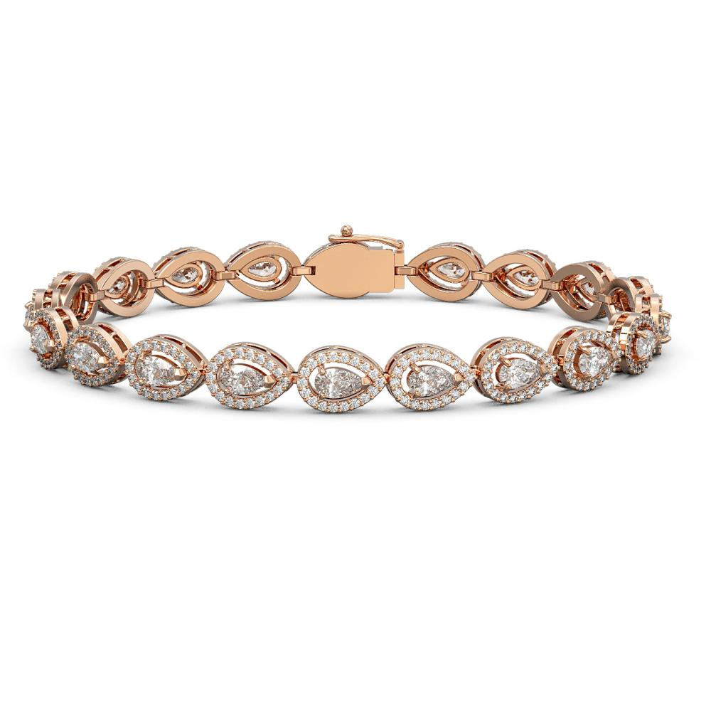 8.58 ctw Pear Diamond Bracelet 18K Rose Gold - REF-723W2H - SKU:43041