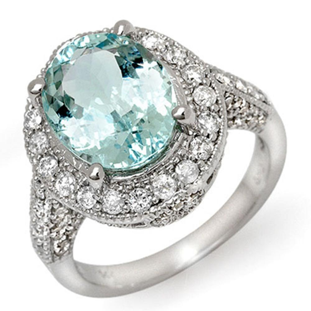 4.50 ctw Aquamarine & Diamond Ring 14K White Gold - REF-111Y6X - SKU:11895