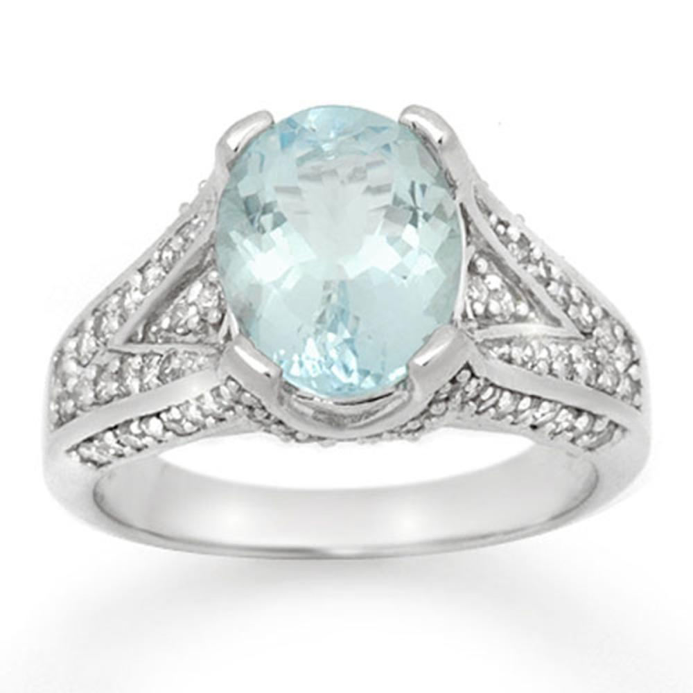 3.95 ctw Aquamarine & Diamond Ring 14K White Gold - REF-123W6H - SKU:14507