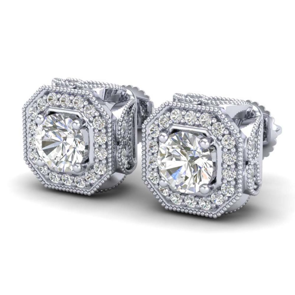 2.75 ctw VS/SI Diamond Solitaire Art Deco Stud Earrings 18K White Gold - REF-472V7Y - SKU:37322