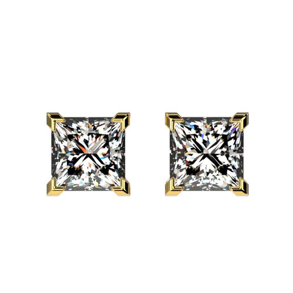 1 ctw VS/SI Princess Diamond Stud Earrings 10K Yellow Gold - REF-147W2H - SKU:33065