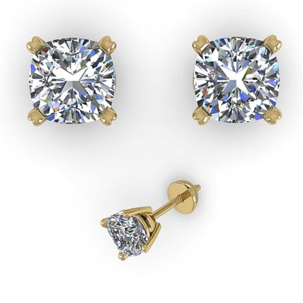 1.00 ctw VS/SI Cushion Diamond Stud Earrings 14K Yellow Gold - REF-148K5W - SKU:38366