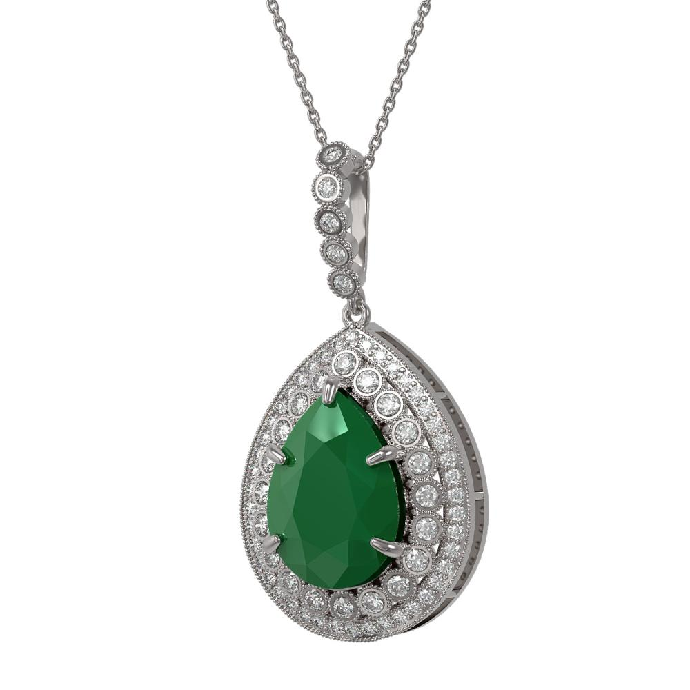 15.87 ctw Emerald & Diamond Necklace 14K White Gold - REF-354N2A - SKU:43316