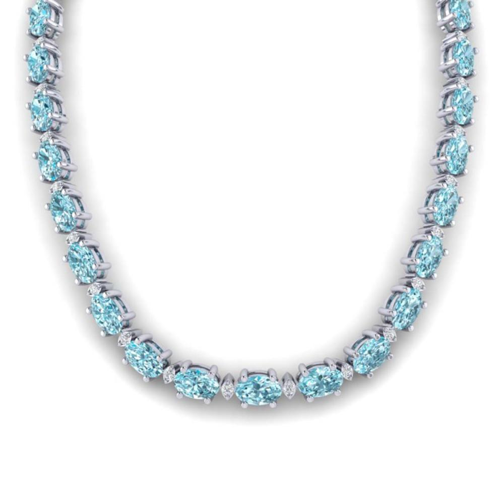46.5 ctw Sky Blue Topaz & VS/SI Diamond Eternity Necklace 10K White Gold - REF-223F5N - SKU:29438