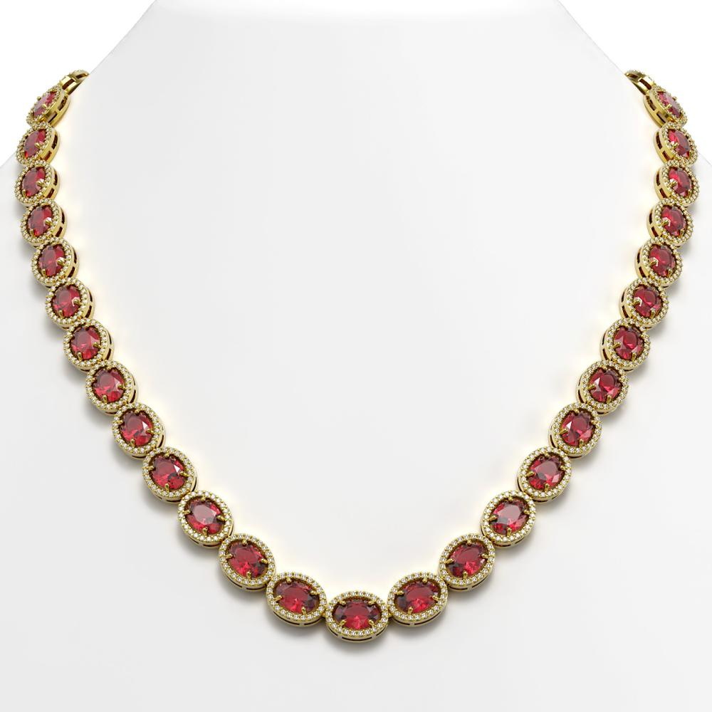 49.46 ctw Tourmaline & Diamond Halo Necklace 10K Yellow Gold - REF-763N6A - SKU:40573