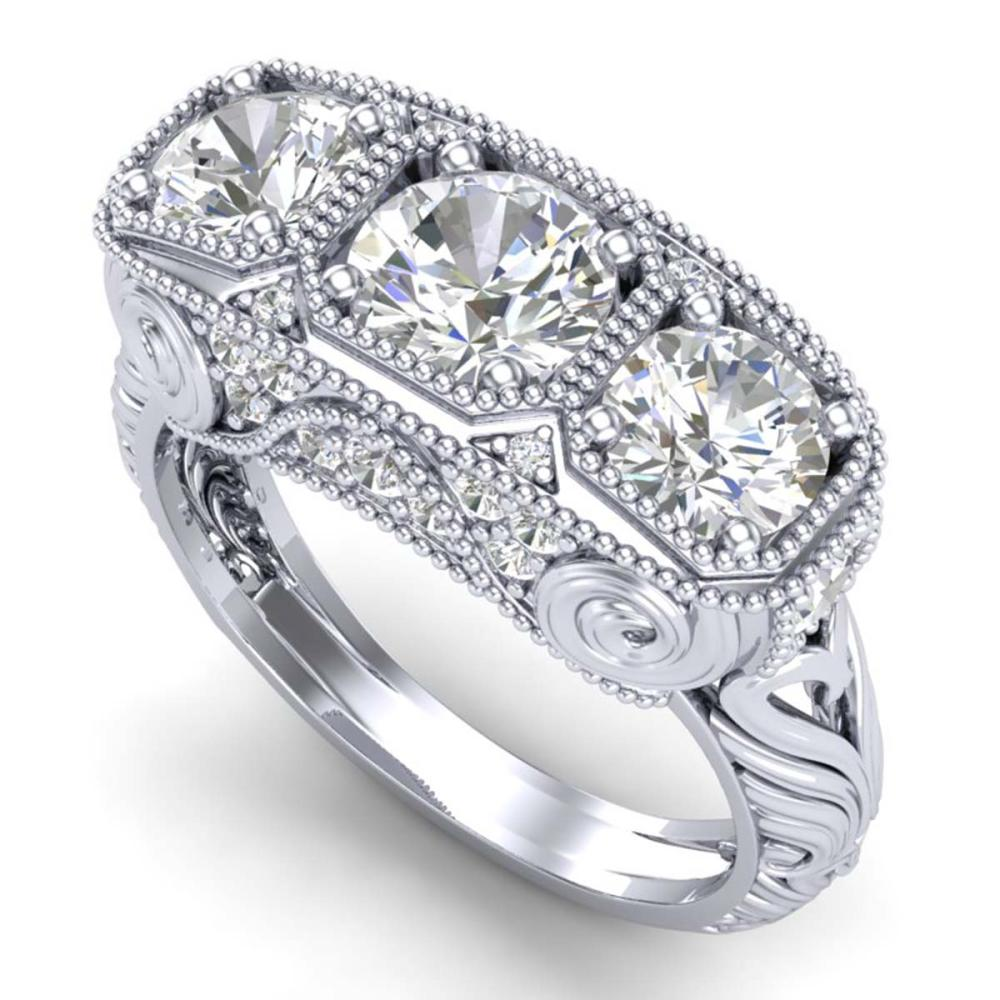 2.51 ctw VS/SI Diamond Solitaire Art Deco 3 Stone Ring 18K White Gold - REF-436R4K - SKU:36989