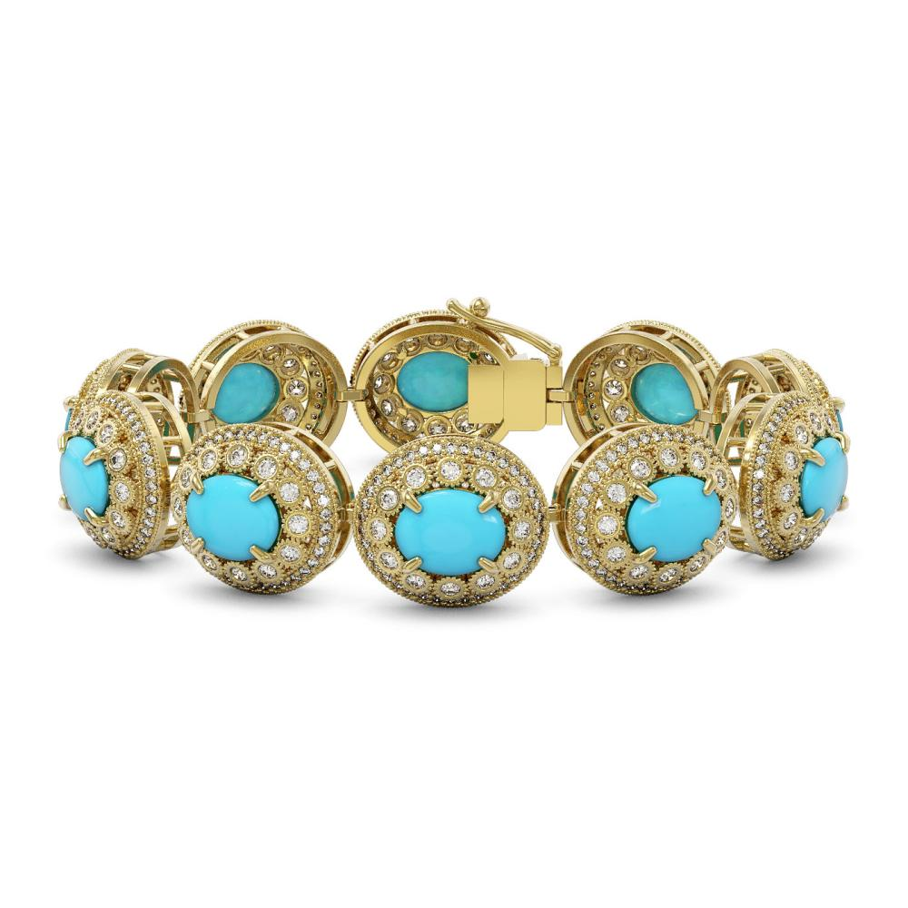38.17 ctw Turquoise & Diamond Bracelet 14K Yellow Gold - REF-1179M3F - SKU:46124