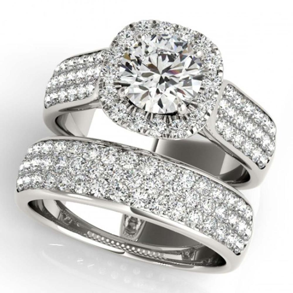 2.59 ctw VS/SI Diamond 2pc Wedding Set Halo 14K White Gold - REF-356V6Y - SKU:31166