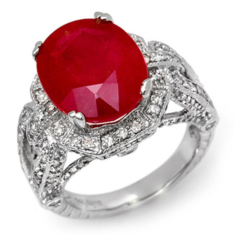 10.50 ctw Ruby & Diamond Ring 14K White Gold - REF-162K4W - SKU:11899
