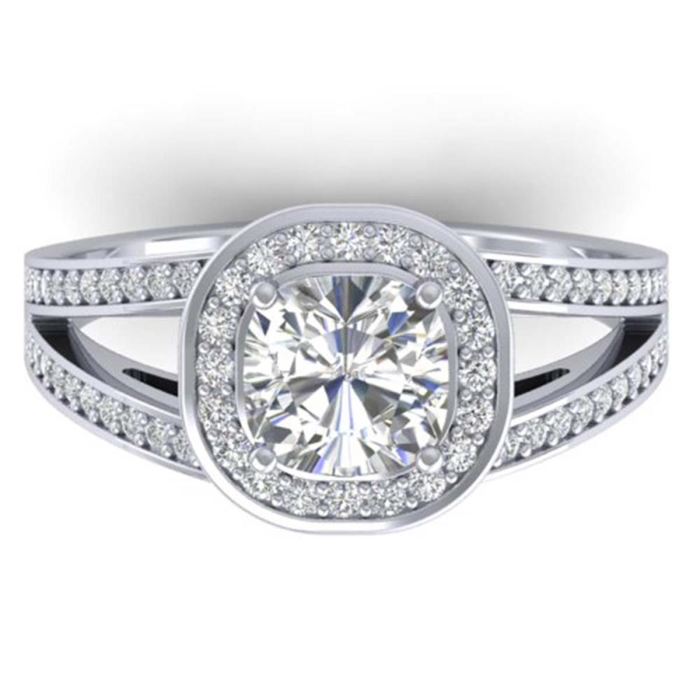 1.50 ctw VS/SI Cushion Diamond Art Deco Ring 14K White Gold - REF-376N3A - SKU:30333