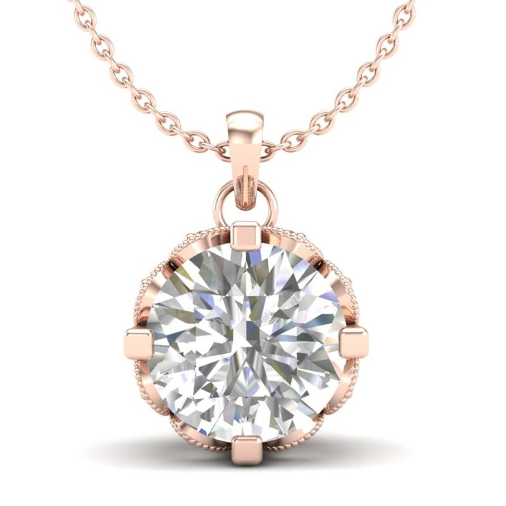 1.50 ctw VS/SI Diamond Solitaire Art Deco Stud Necklace 18K Rose Gold - REF-363H5M - SKU:36846