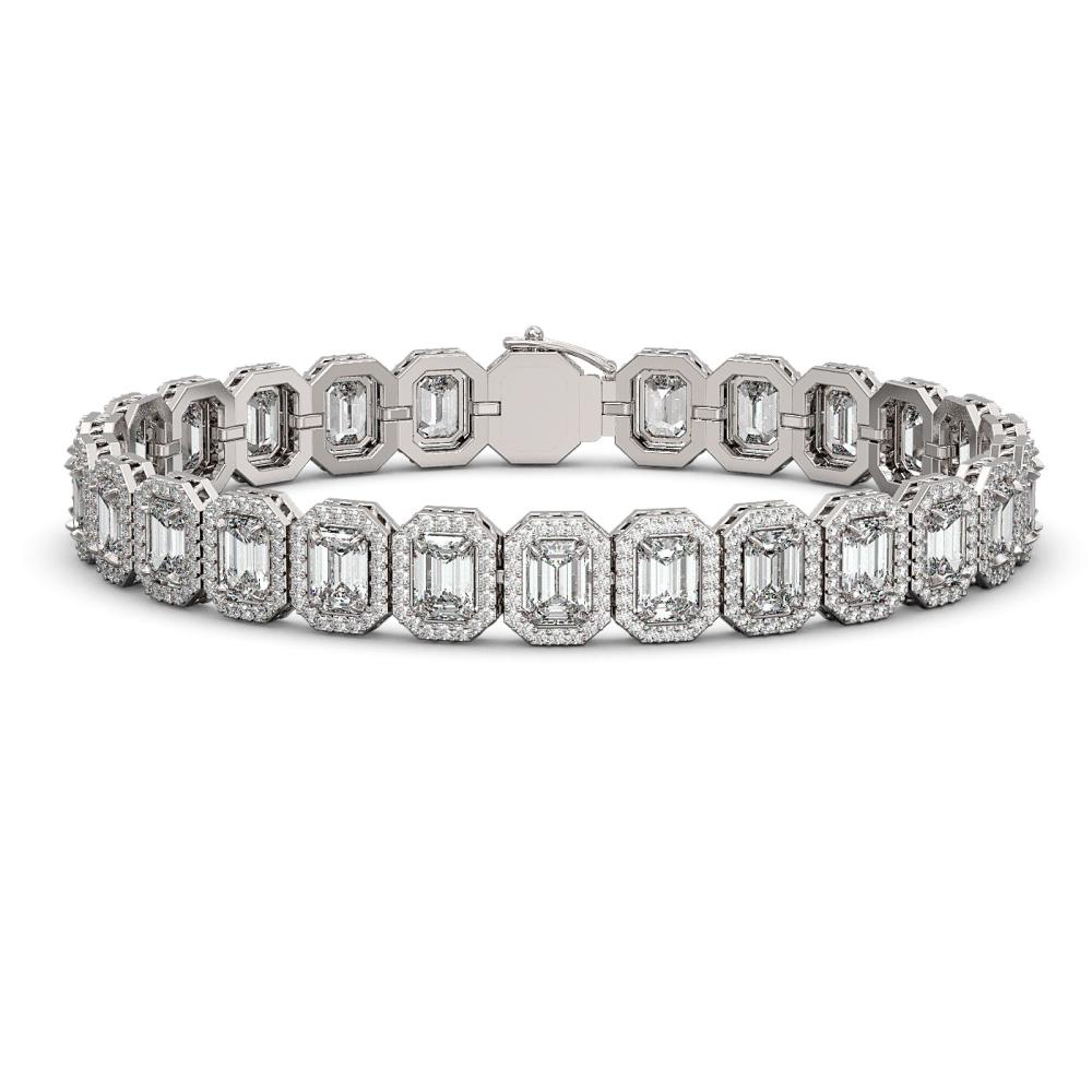 20.25 ctw Emerald Diamond Bracelet 18K White Gold - REF-3213H3M - SKU:42842