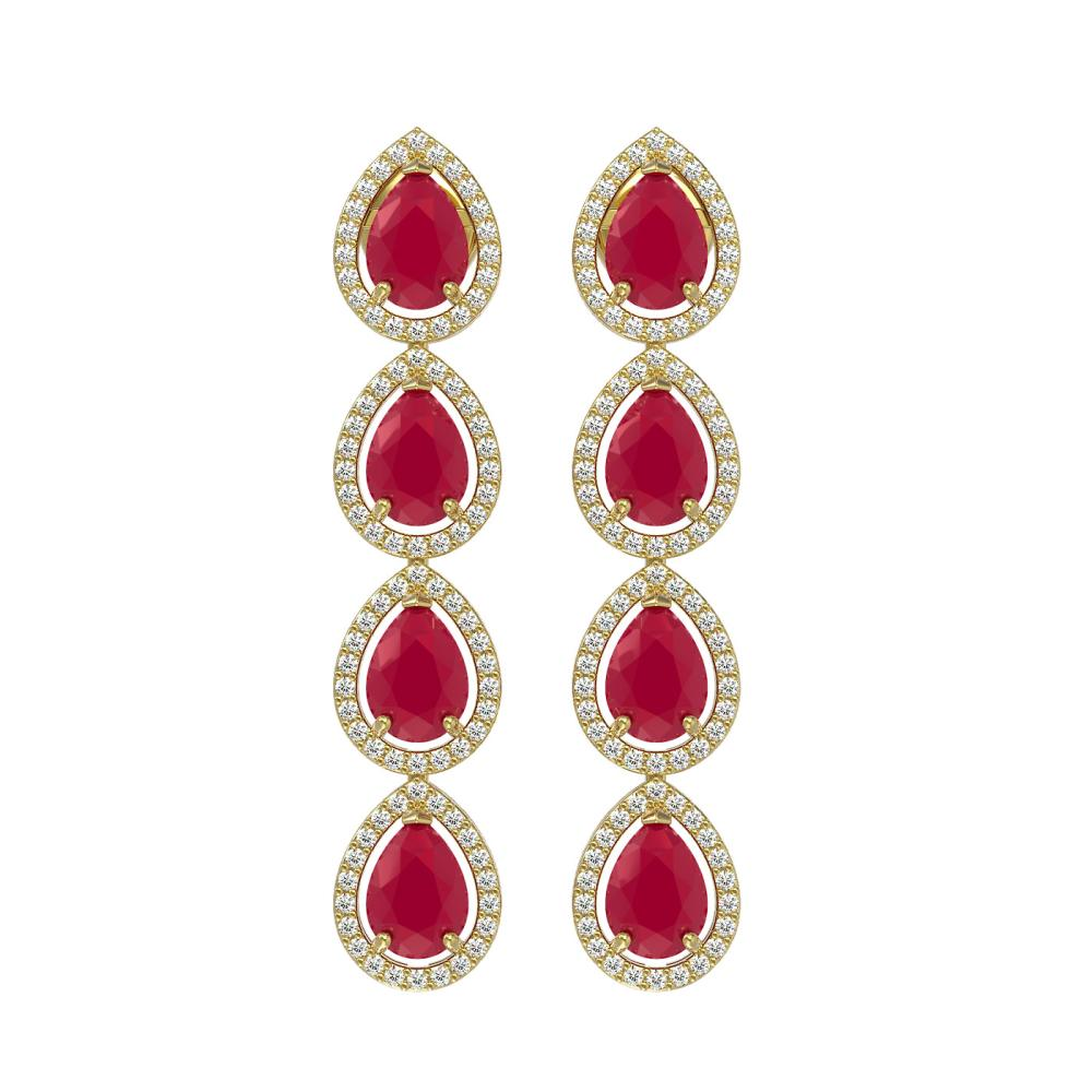 10.2 ctw Ruby & Diamond Halo Earrings Yellow 10K Yellow Gold - REF-155N5A - SKU:41143