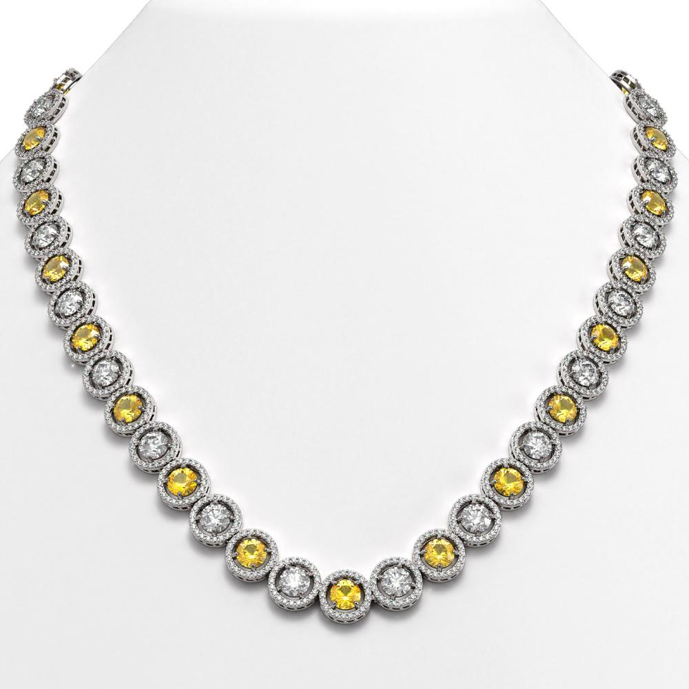 35.54 ctw Canary & Diamond Necklace 18K White Gold - REF-3777M2F - SKU:42686