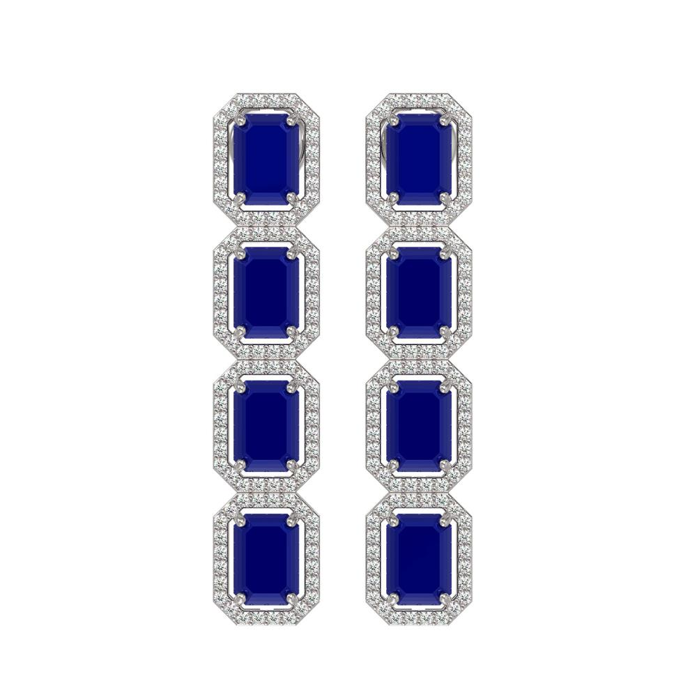 12.33 ctw Sapphire & Diamond Halo Earrings 10K White Gold - REF-163Y6X - SKU:41432