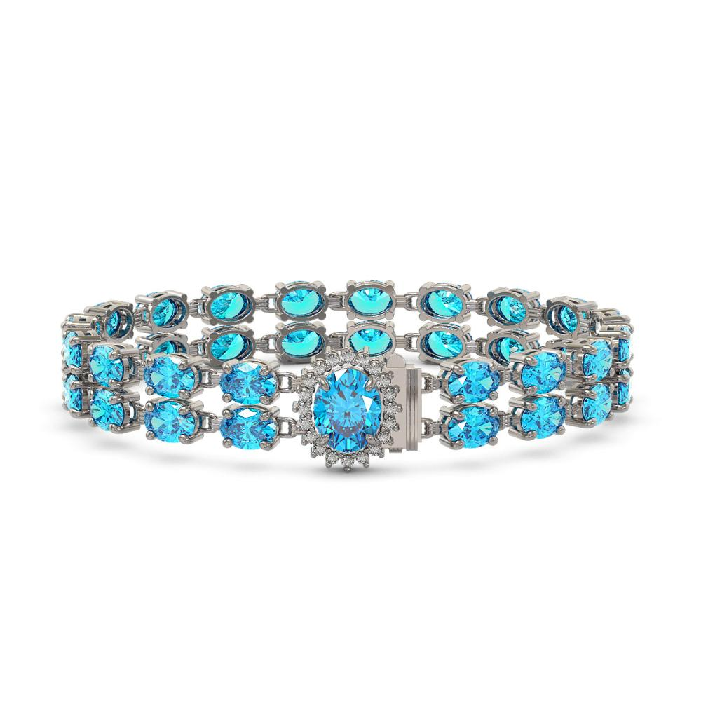 29.22 ctw Swiss Topaz & Diamond Bracelet 14K White Gold - REF-145N3A - SKU:45512