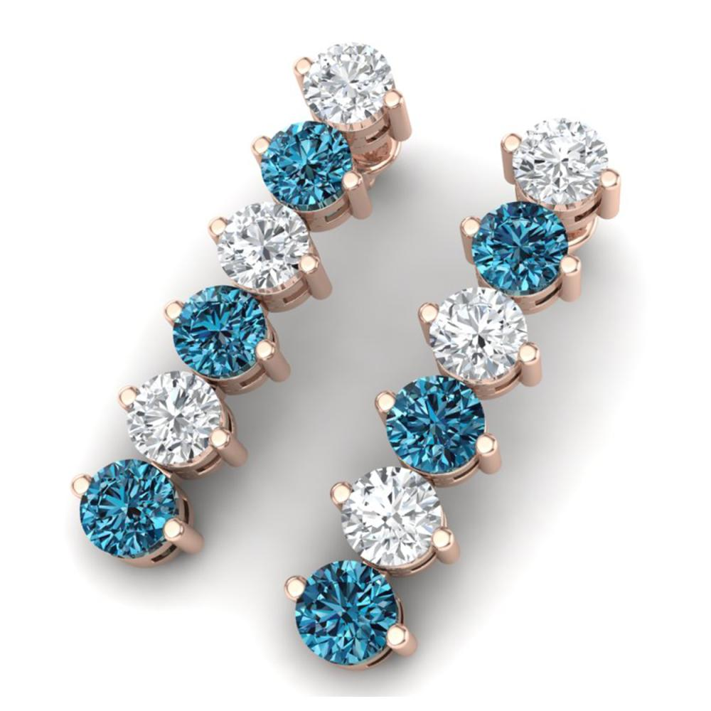 6 ctw SI/I Intense Blue Diamond Earrings 18K Rose Gold - REF-555N2A - SKU:40213