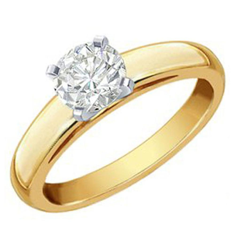 1.0 ctw VS/SI Diamond Solitaire Ring 14K 2-Tone Gold - REF-496R9K - SKU:12113
