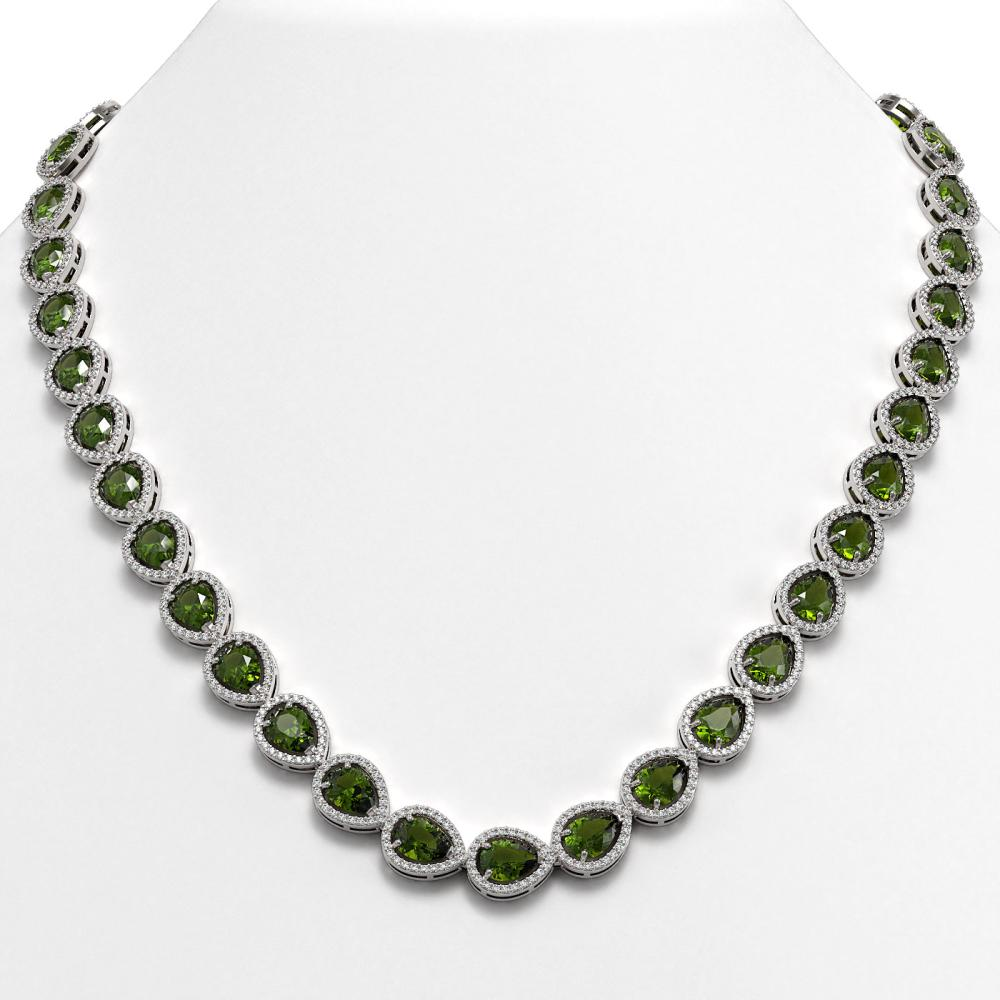 35.13 ctw Tourmaline & Diamond Halo Necklace 10K White Gold - REF-775F5N - SKU:41063