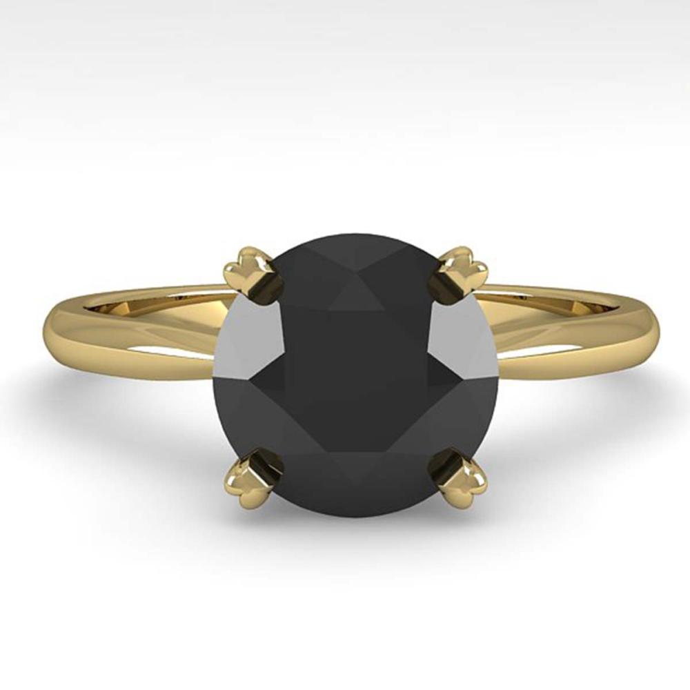 2.0 ctw Black Diamond Ring 18K Yellow Gold - REF-61Y3X - SKU:32449