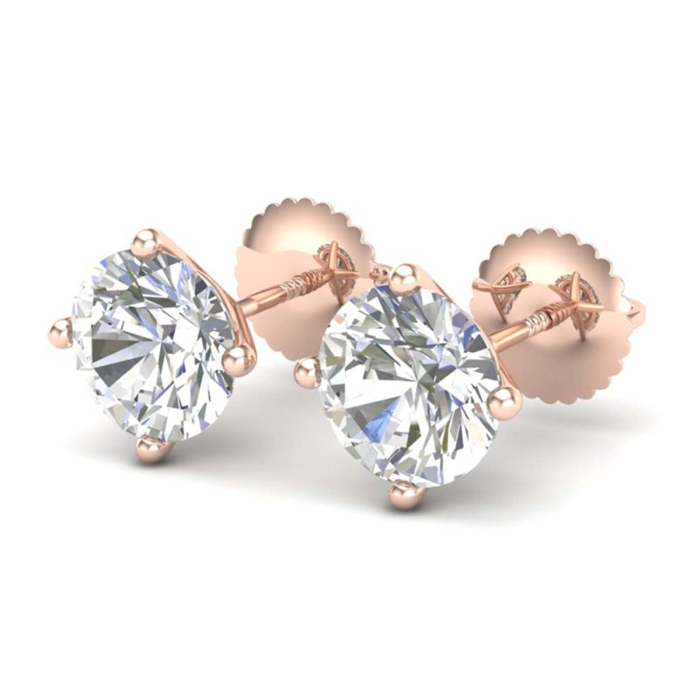 2.5 ctw VS/SI Diamond Bridal Solitaire Stud Earrings 18K Rose Gold - REF-668M2F - SKU:37308