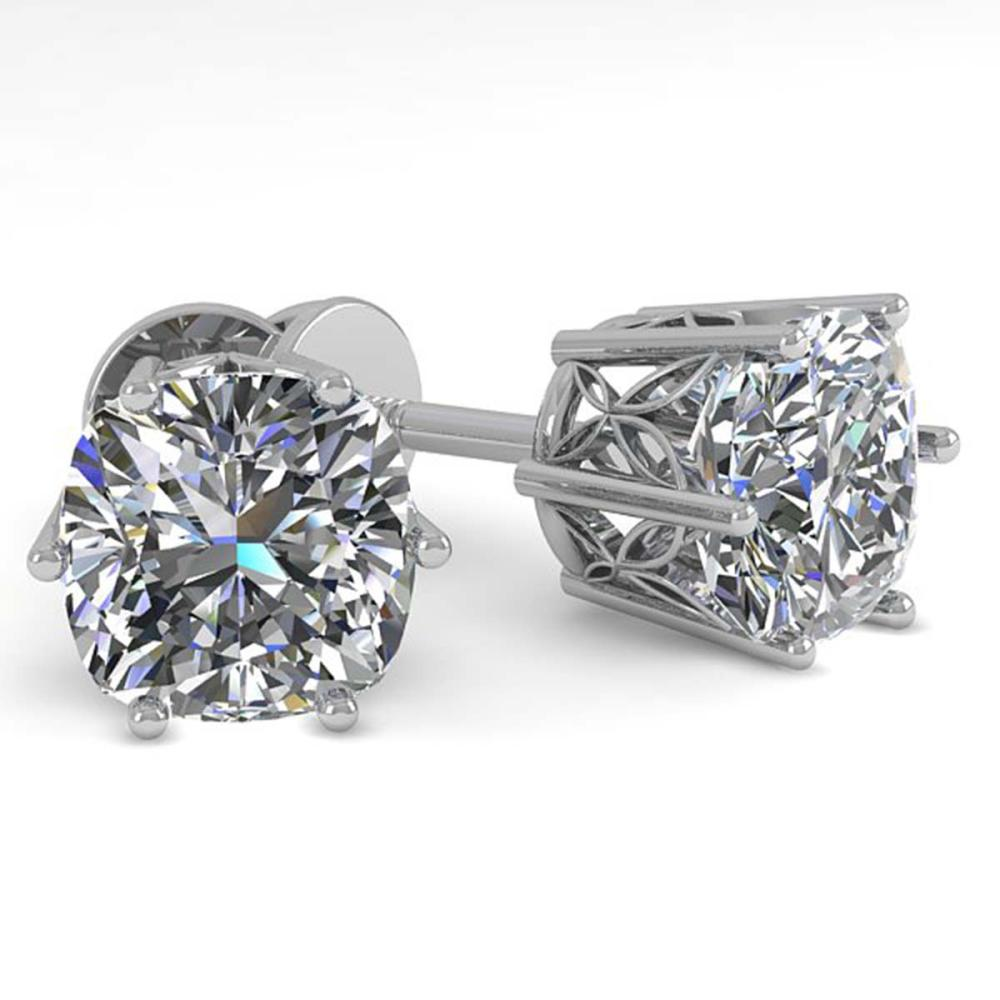 1.0 ctw VS/SI Cushion Cut Diamond Stud Earrings 18K White Gold - REF-147A2V - SKU:35832