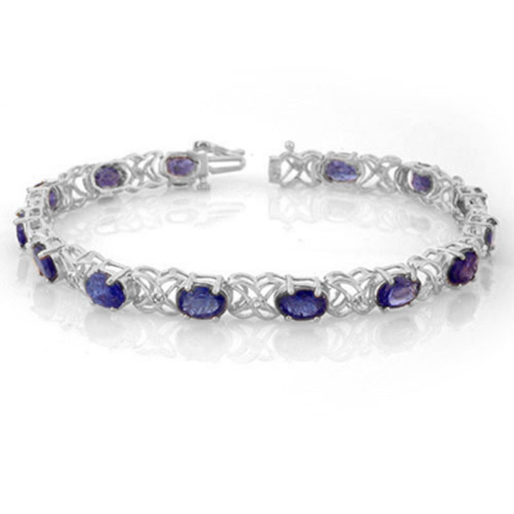 12.05 ctw Tanzanite & Diamond Bracelet 14K White Gold - REF-141Y8X - SKU:10905