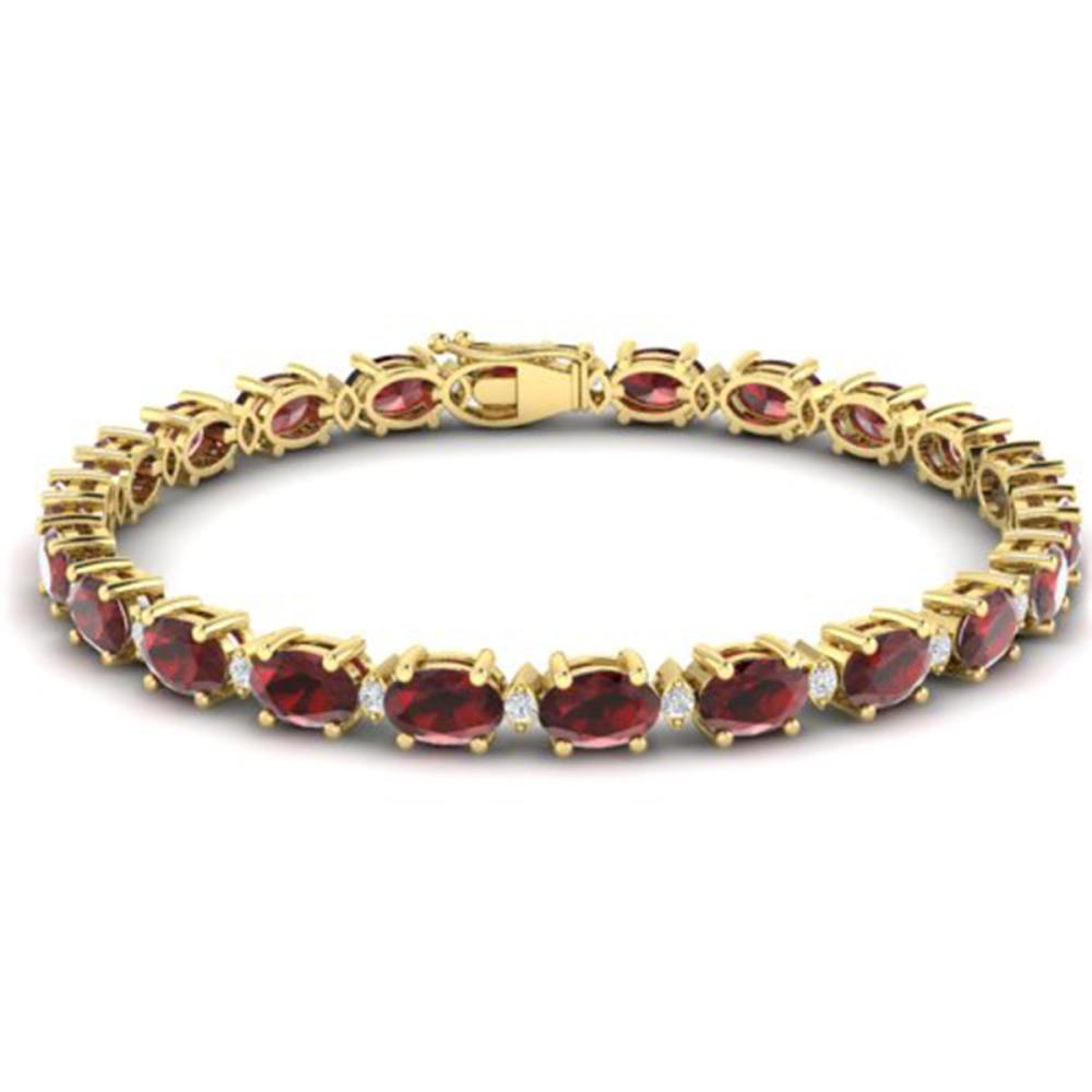25.8 ctw Garnet & VS/SI Diamond Eternity Bracelet 10K Yellow Gold - REF-119M3F - SKU:29454