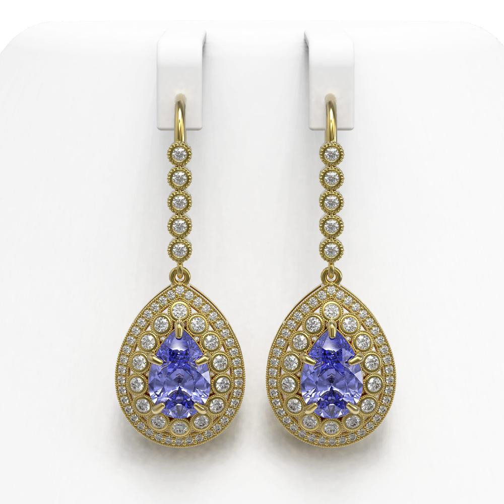 8.95 ctw Tanzanite & Diamond Earrings 14K Yellow Gold - REF-377K3W - SKU:43156