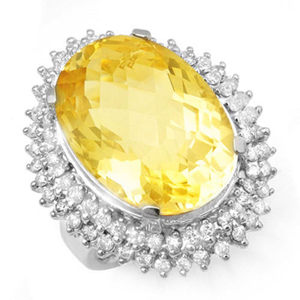 37.75 ctw Citrine & Diamond Ring 18K White Gold - REF-277W5H - SKU:13032