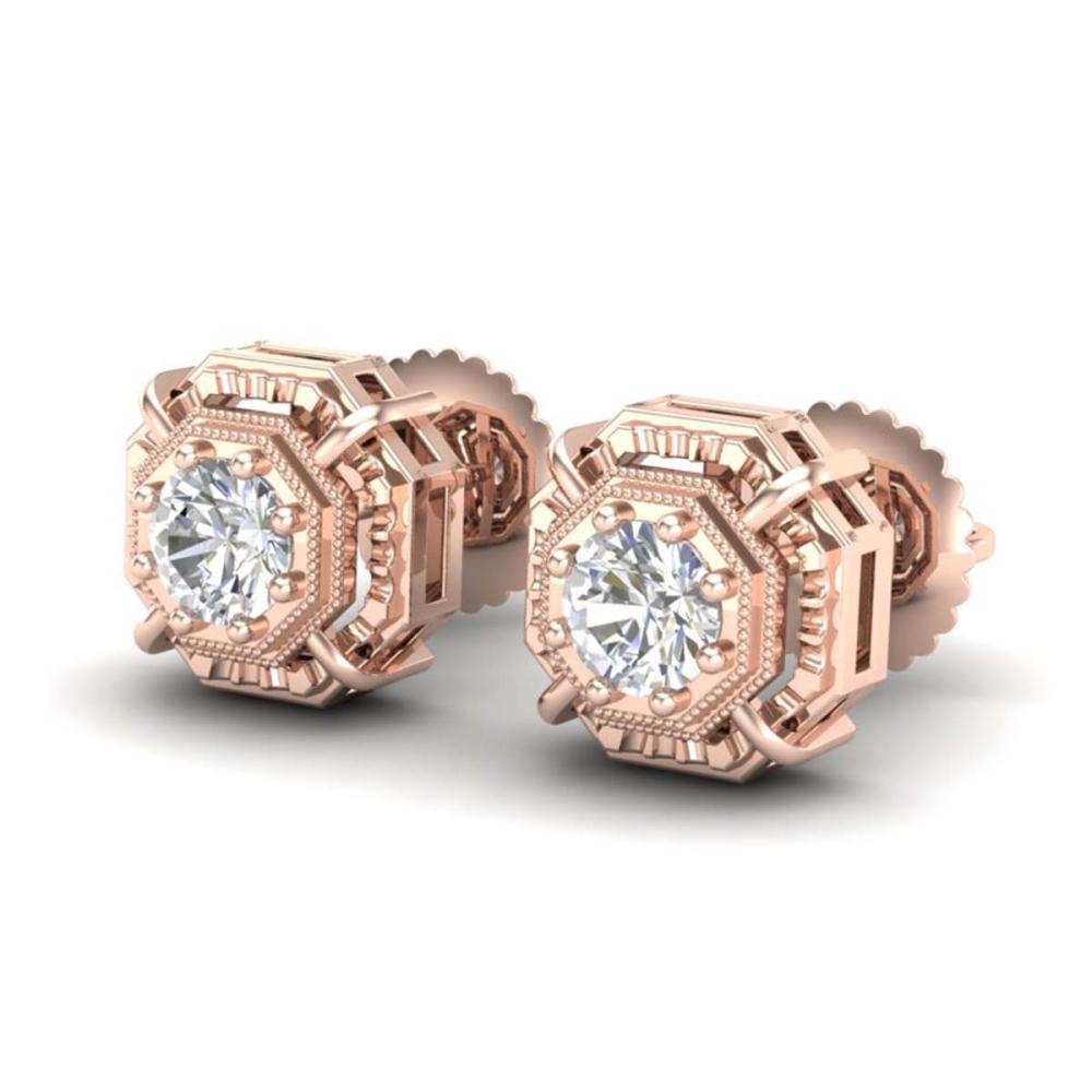 1.11 ctw VS/SI Diamond Solitaire Art Deco Stud Earrings 18K Rose Gold - REF-254A5V - SKU:36876