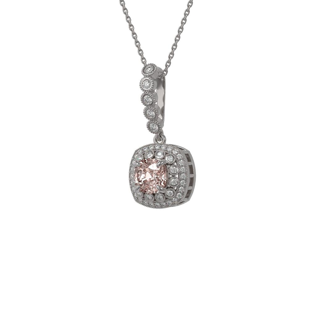 2.15 ctw Morganite & Diamond Necklace 14K White Gold - REF-86K7W - SKU:44093