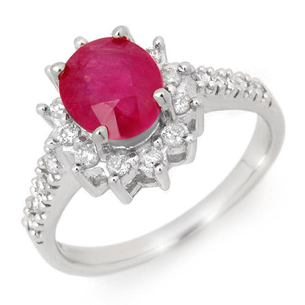 3.05 ctw Ruby & Diamond Ring 14K White Gold - REF-69F6N - SKU:13937