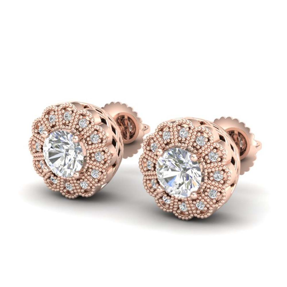 1.32 ctw VS/SI Diamond Solitaire Art Deco Stud Earrings 18K Rose Gold - REF-245R5K - SKU:37053