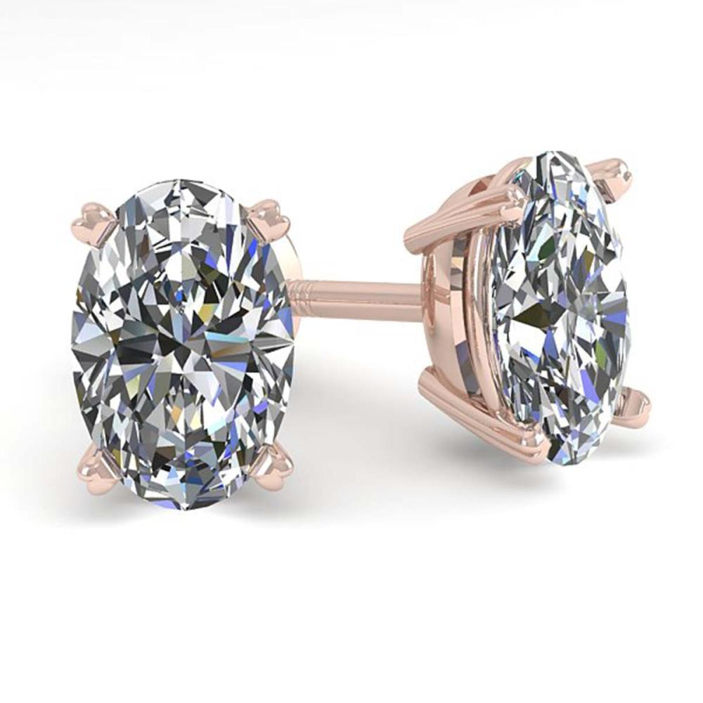 1.0 ctw VS/SI Oval Cut Diamond Stud Earrings 18K Rose Gold - REF-148N5A - SKU:32270