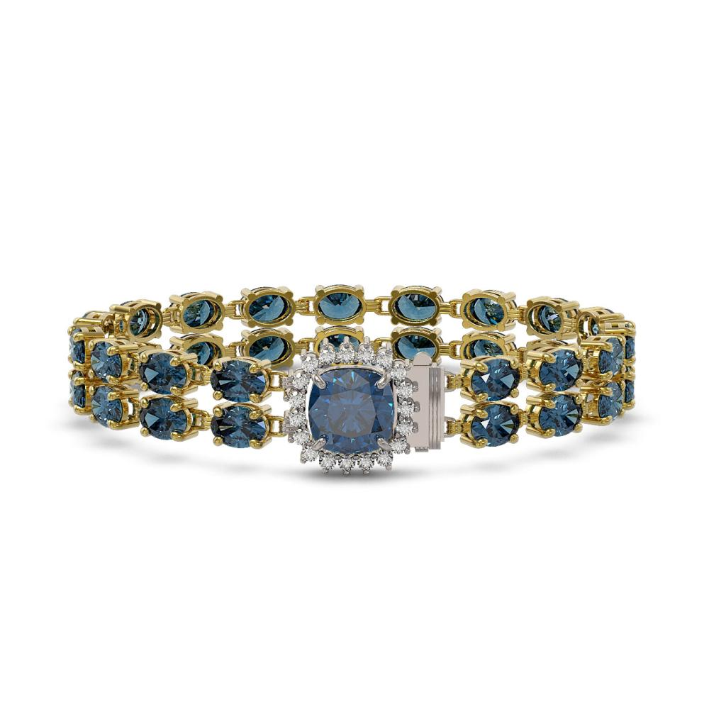 17.87 ctw London Topaz & Diamond Bracelet 14K Yellow Gold - REF-186N9A - SKU:45631