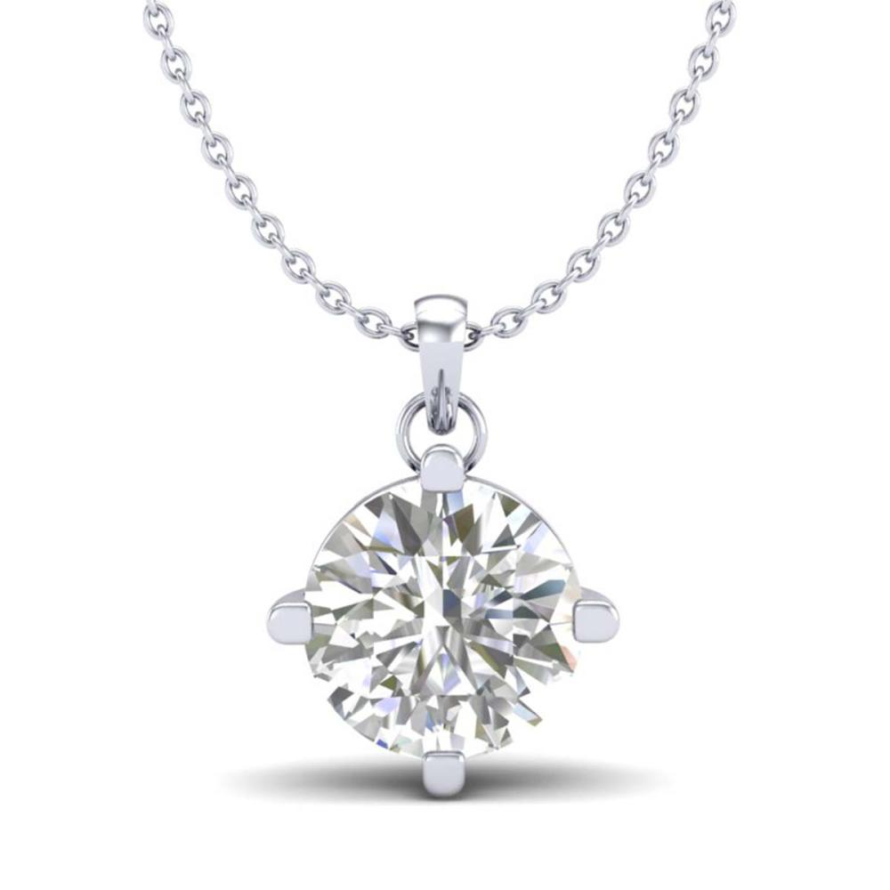 1 ctw VS/SI Diamond Solitaire Art Deco Stud Necklace 18K White Gold - REF-285M2F - SKU:37232