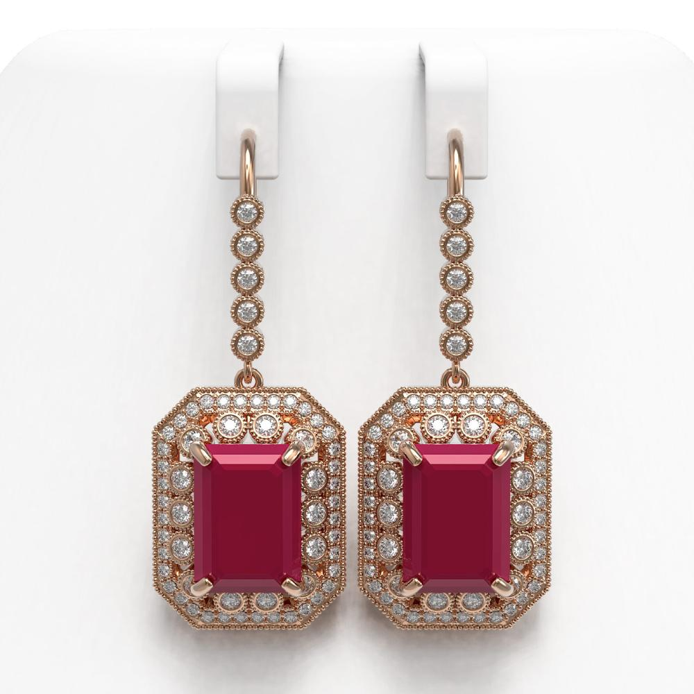 23.79 ctw Ruby & Diamond Earrings 14K Rose Gold - REF-481X6R - SKU:43524