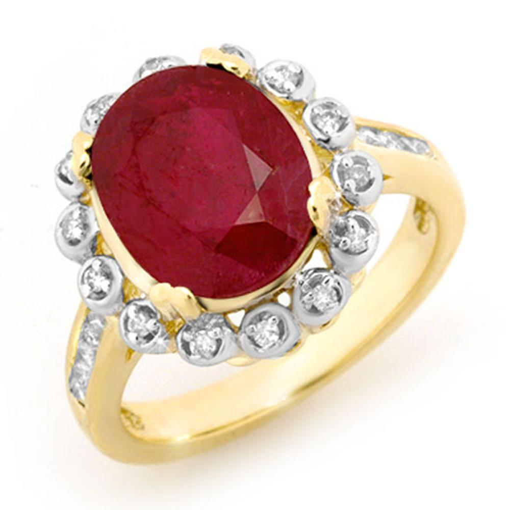5.83 ctw Ruby & Diamond Ring 10K Yellow Gold - REF-81M8F - SKU:13438