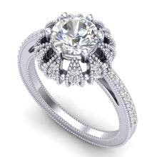 1.65 CTW VS/SI Diamond Solitaire Art Deco Micro Pave Ring 18K Gold - 36992-REF-427F3X