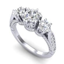 2.18 CTW VS/SI Diamond Bridal Art Deco 3 Stone Ring 18K Gold - 37247-REF-327R3N