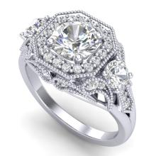 2.11 CTW VS/SI Diamond Solitaire Art Deco 3 Stone Ring 18K Gold - 37328-REF-472F7X