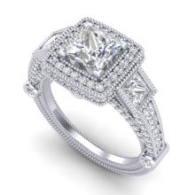 3 CTW Princess VS/SI Diamond Solitaire Art Deco 3 Stone Ring 18K Gold - 37133-REF-563Y6V