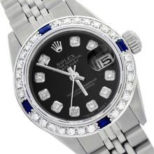 Rolex Men's Stainless Steel, QuickSet, Diam Dial & Diam/Sapphire Bezel - REF-441Y8X