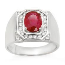 3.60 CTW Ruby & Diamond Men's Ring 14K White Gold - REF-104M5H - 14467