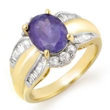 3.52 CTW Tanzanite & Diamond Ring 14K Yellow Gold - REF-114A2X - 14458