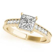 0.65 CTW Certified VS/SI Princess Diamond Solitaire Antique Ring 18K Yellow Gold - REF-136M4H - 27227