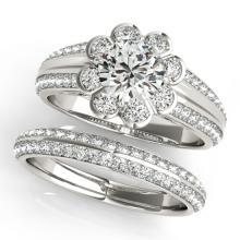 1.21 CTW Certified VS/SI Diamond 2Pc Wedding Set Solitaire Halo 14K White Gold - REF-150A9X - 31283